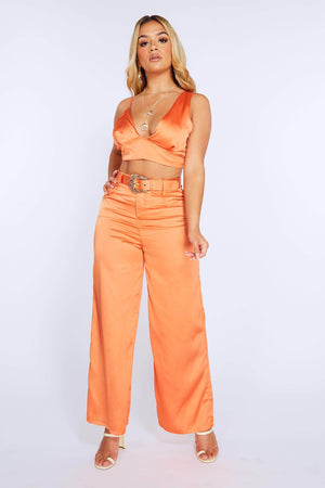 Orange Satin Wide Leg Belted Trouser & Crop Top Set