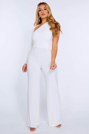 White Slinky One Shoulder Wide Leg Jumpsuit