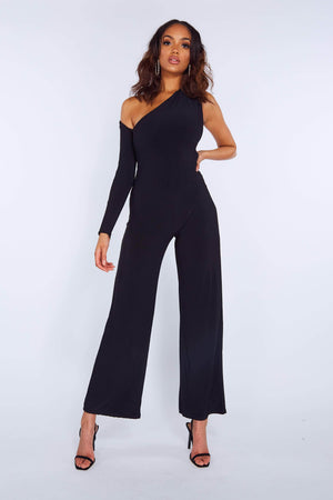 Black Slinky One Shoulder Wide Leg Jumpsuit