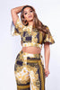 Gold Baroque Crop Top and Palazzo Trouser Co-ord