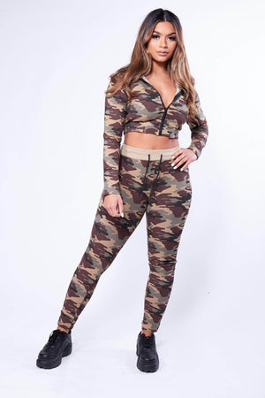 Camouflage Crop Jacket and Leggings Loungeset