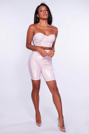Pink Vinyl Cycling Shorts & Bustier Bralet Co-ord