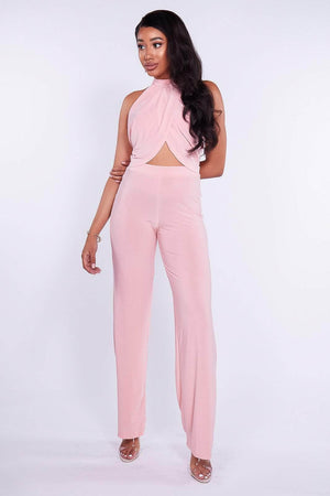 Pink Slinky Halter Top & Trouser Co-ord