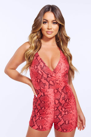 Fuchsia Snake Wrap Halter Neck Playsuit