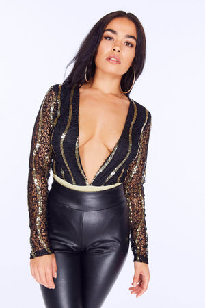 Black & Gold Sequin Plunge Bodysuit
