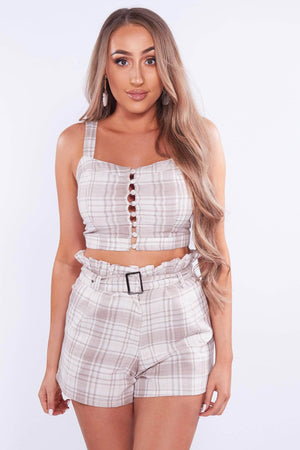 Beige Checked Shorts & Crop Top Co-ord Set