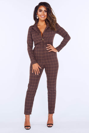 Brown Checked Jumpsuit