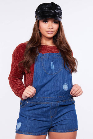 Blue Ripped Denim Dungaree Playsuit