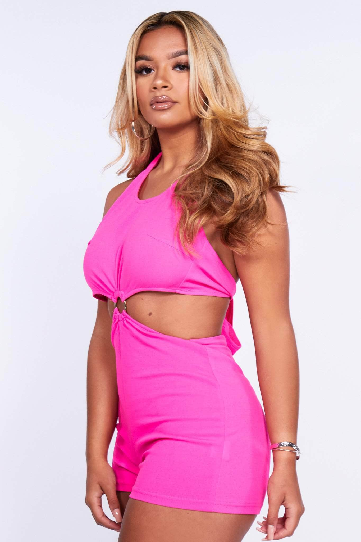 Fuchsia Ring Detail Cut Out Halter Playsuit