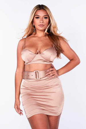 Gold Belted Mini Skirt & Crop Top Set