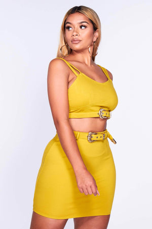 Yellow Belted Mini Skirt & Crop Top Set