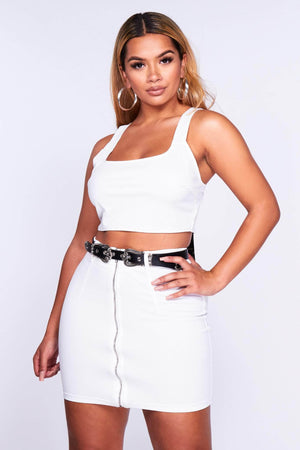 White Belted Mini Skirt & Crop Top Set