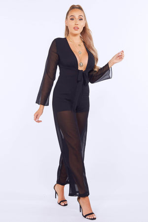 Black Sheer Plunge Belted Jumpsuit