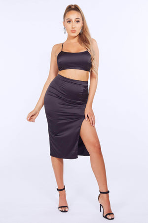Black Satin Pencil Skirt & Crop Top