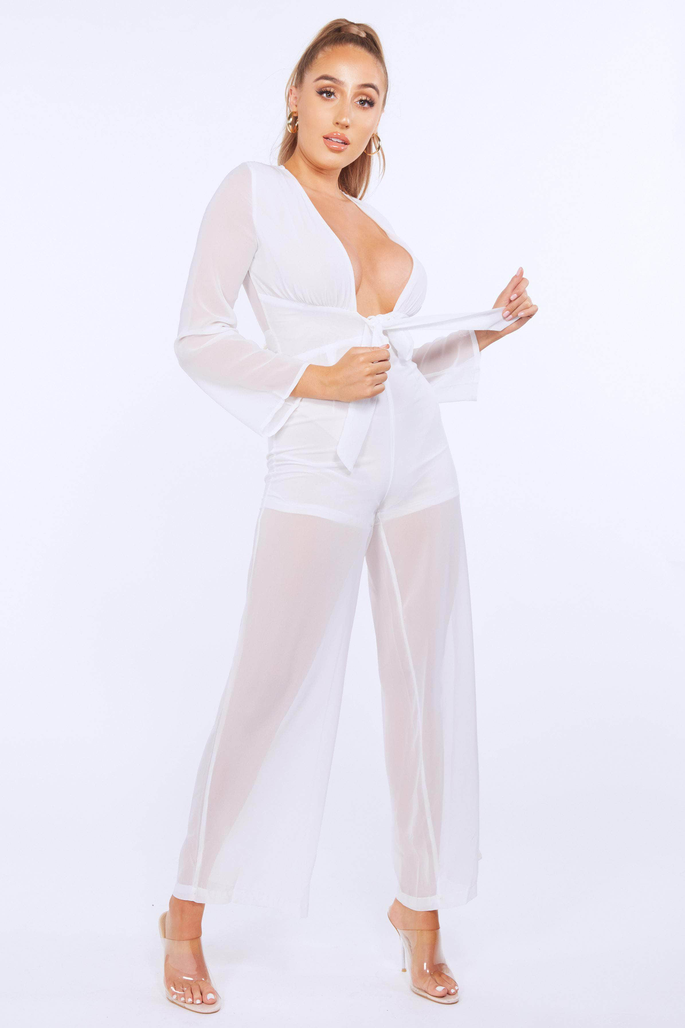 White Sheer Plunge Belted Jumpsuit