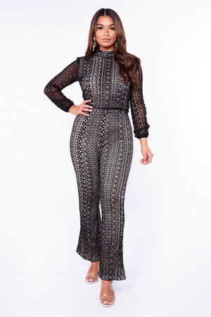 Black High Neck Long Sleeve Lace Jumpsuit