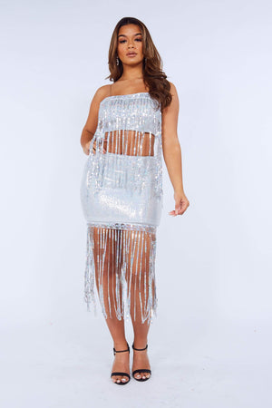 Silver Sequin Tassel Mini Skirt & Crop Top Set