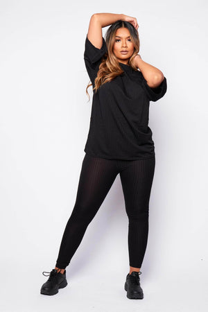 Black Ribbed Oversize T.Shirt & Leggings Co-ord
