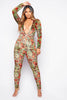Rose Printed Velour Extreme Plunge Jumpsuit