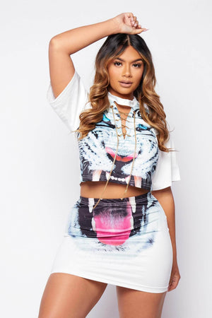 White Tiger Printed Chain T.Shirt & Skirt Co-ord