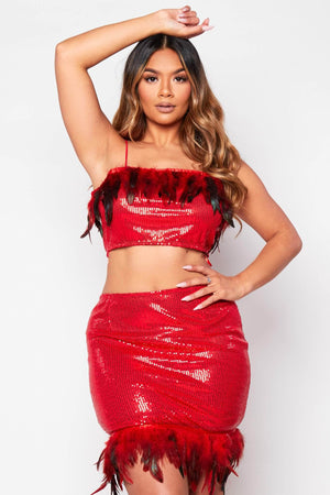 Red Sequin Feather Cami Top & Skirt Co-ord