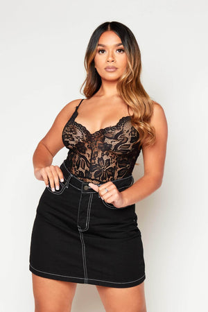 Black Lace Cami Strap Bodysuit