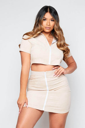 Nude Cord Shirt & Mini Skirt Co-ord
