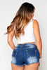 Distressed Denim Shorts with Printed Exposed Pockets