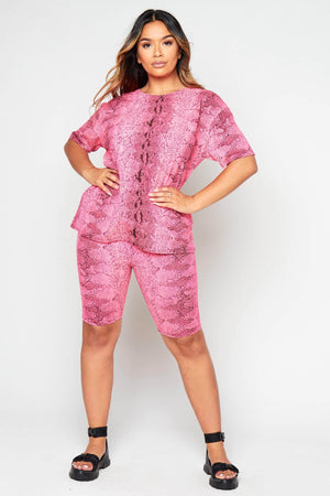 Pink Snake Oversize Tee & Cycling Shorts Co-ord