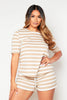 Camel Ribbed Stripe Shorts & Tee Loungeset