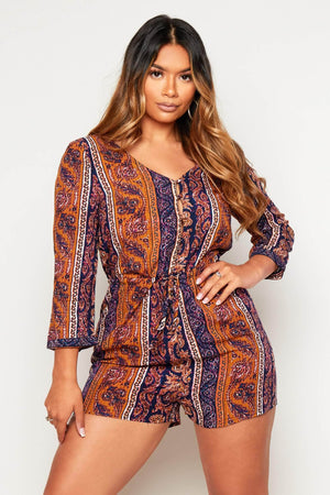 Paisley Printed Oversize Buttoned Playsuit