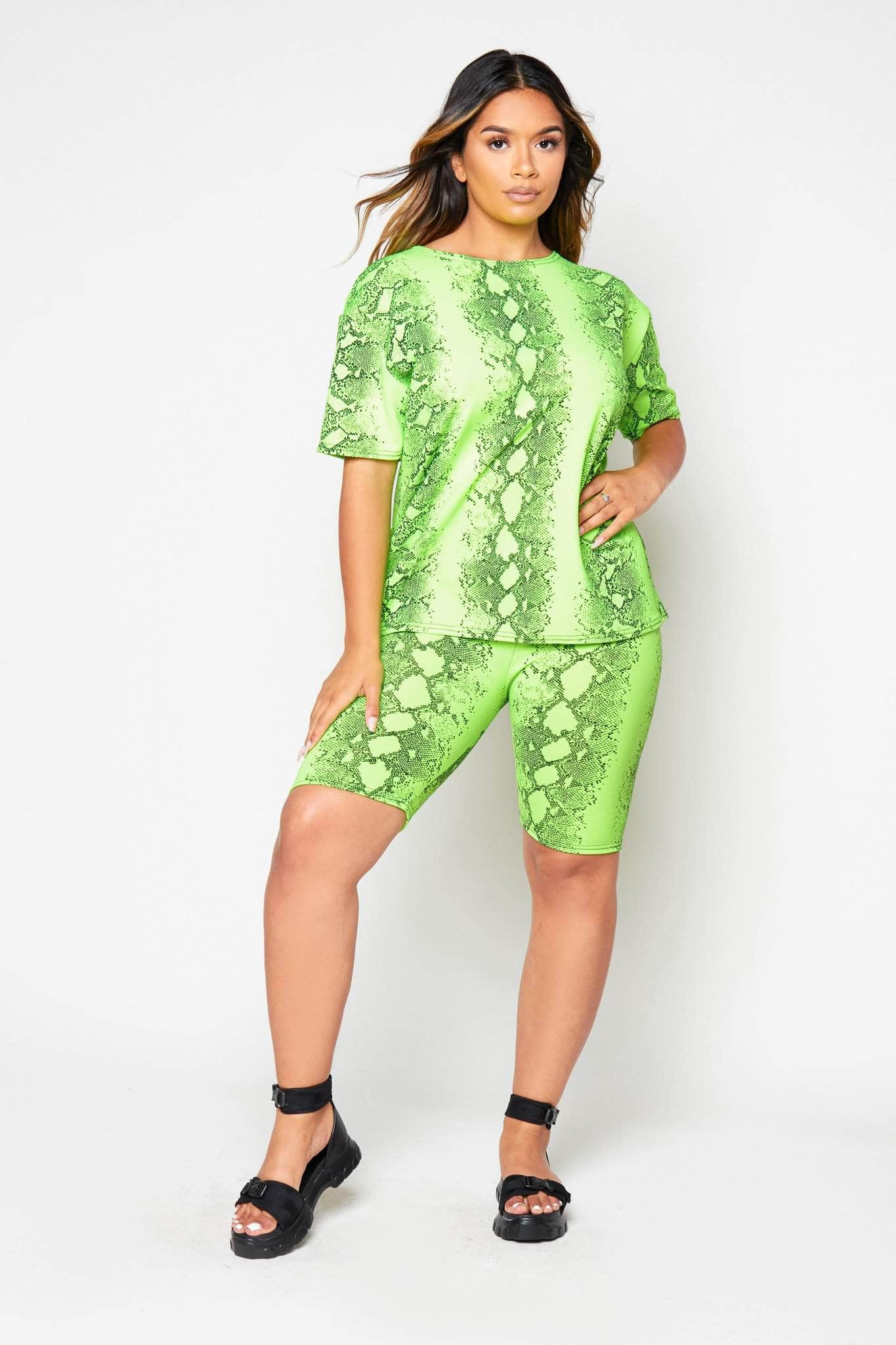 Green Snake Oversize Tee & Cycling Shorts Co-ord