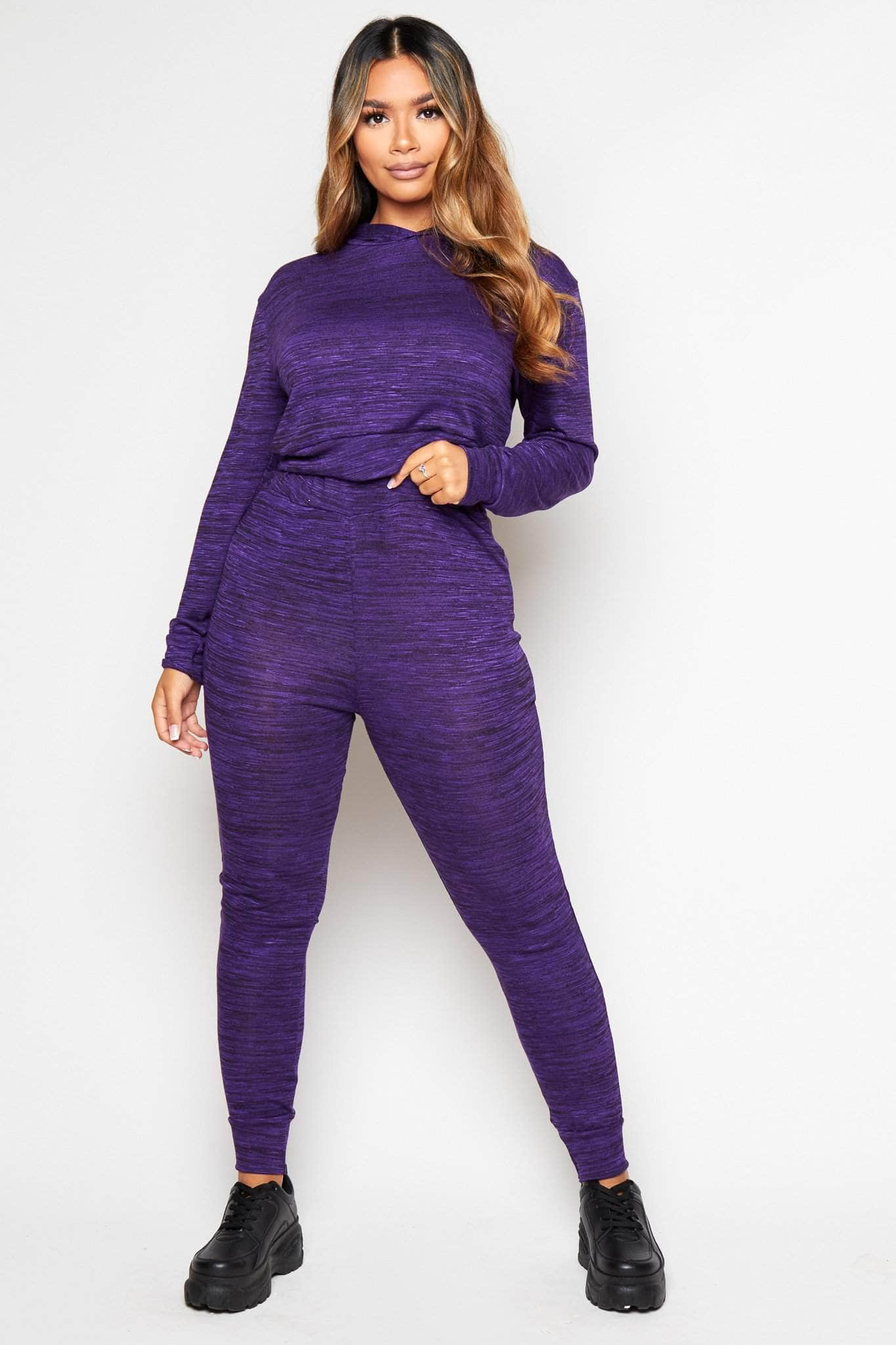 Purple Jersey Hoodie & Leggings Loungeset
