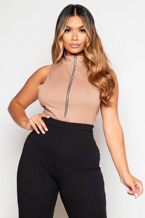 Camel High Neck Sleeveless Zipped Bodysuit
