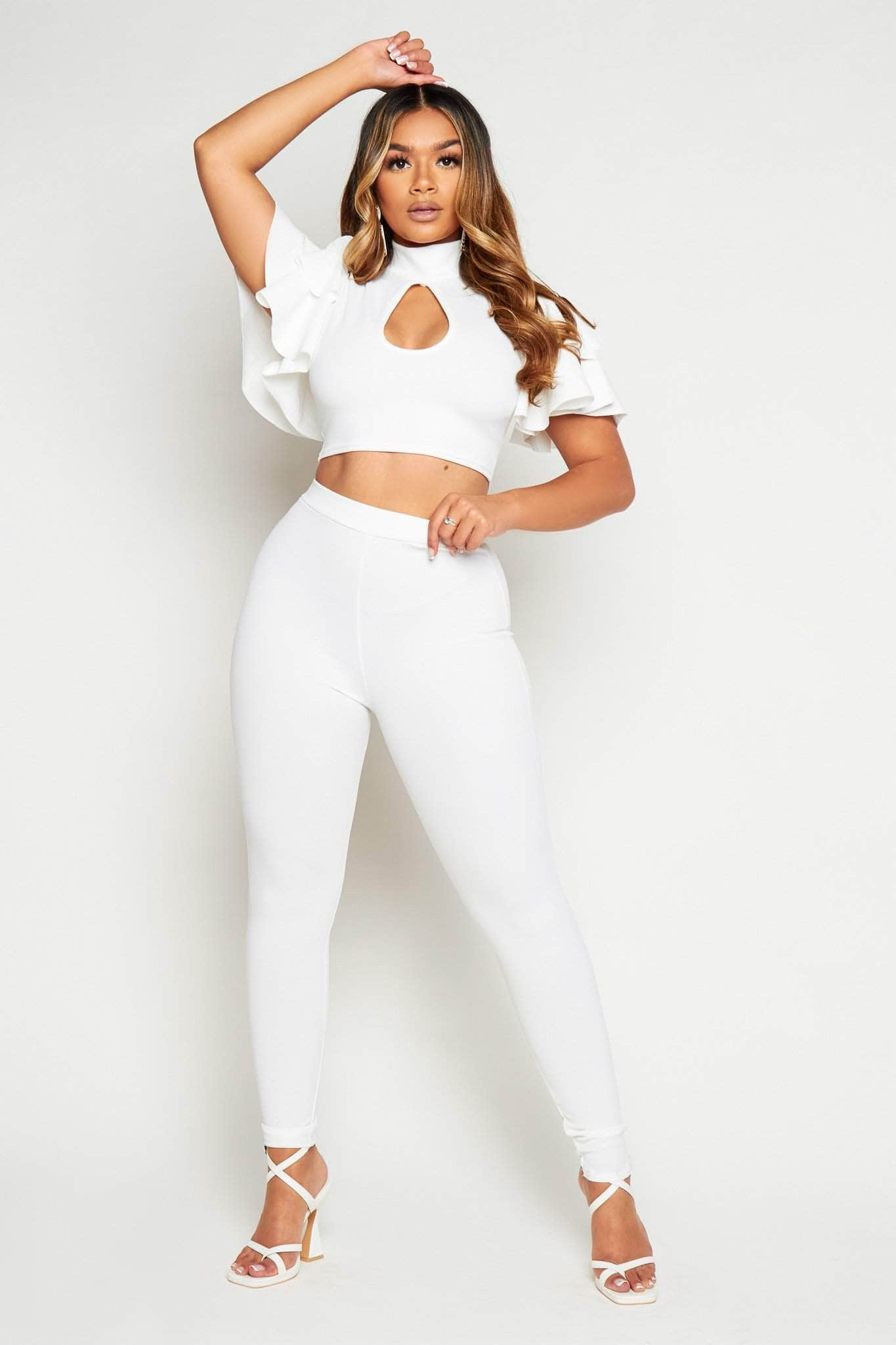 White Keyhole Cut Out Crop Top & Trouser Co-ord