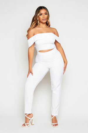 White Cut Out Bardot Cut Out Jumpsuit