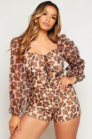 Leopard Mesh Lace Up Playsuit