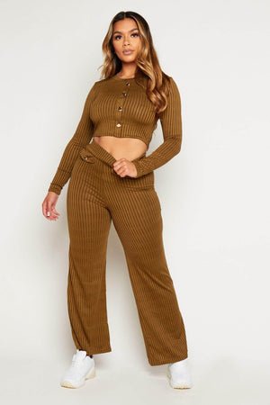 Khaki Ribbed Buttoned Crop Top & Wide Trouser Co-ord
