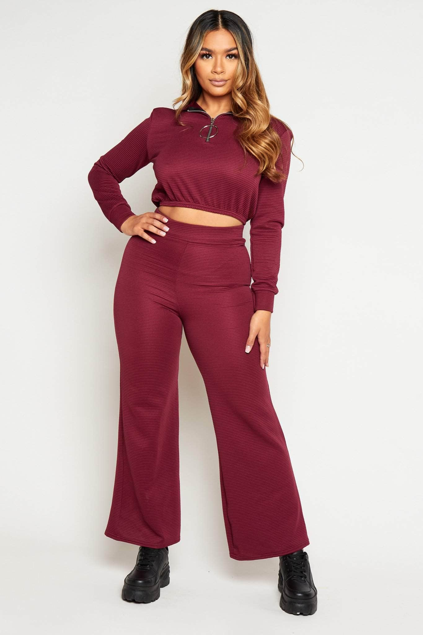 Wine Textured Wide Leg Trousers & Cropped Hoodie Co-ord