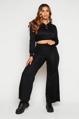 Black Textured Wide Leg Trousers & Cropped Hoodie Co-ord