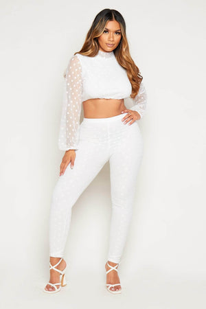 White Polkadot Mesh Crop Top & Leggings Co-ord