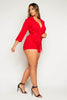 Red Wrap Blazer Belted Playsuit