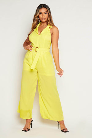 Yellow Halter Neck Wide Leg Jumpsuit