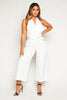 White Halterneck Backless Belted Jumpsuit