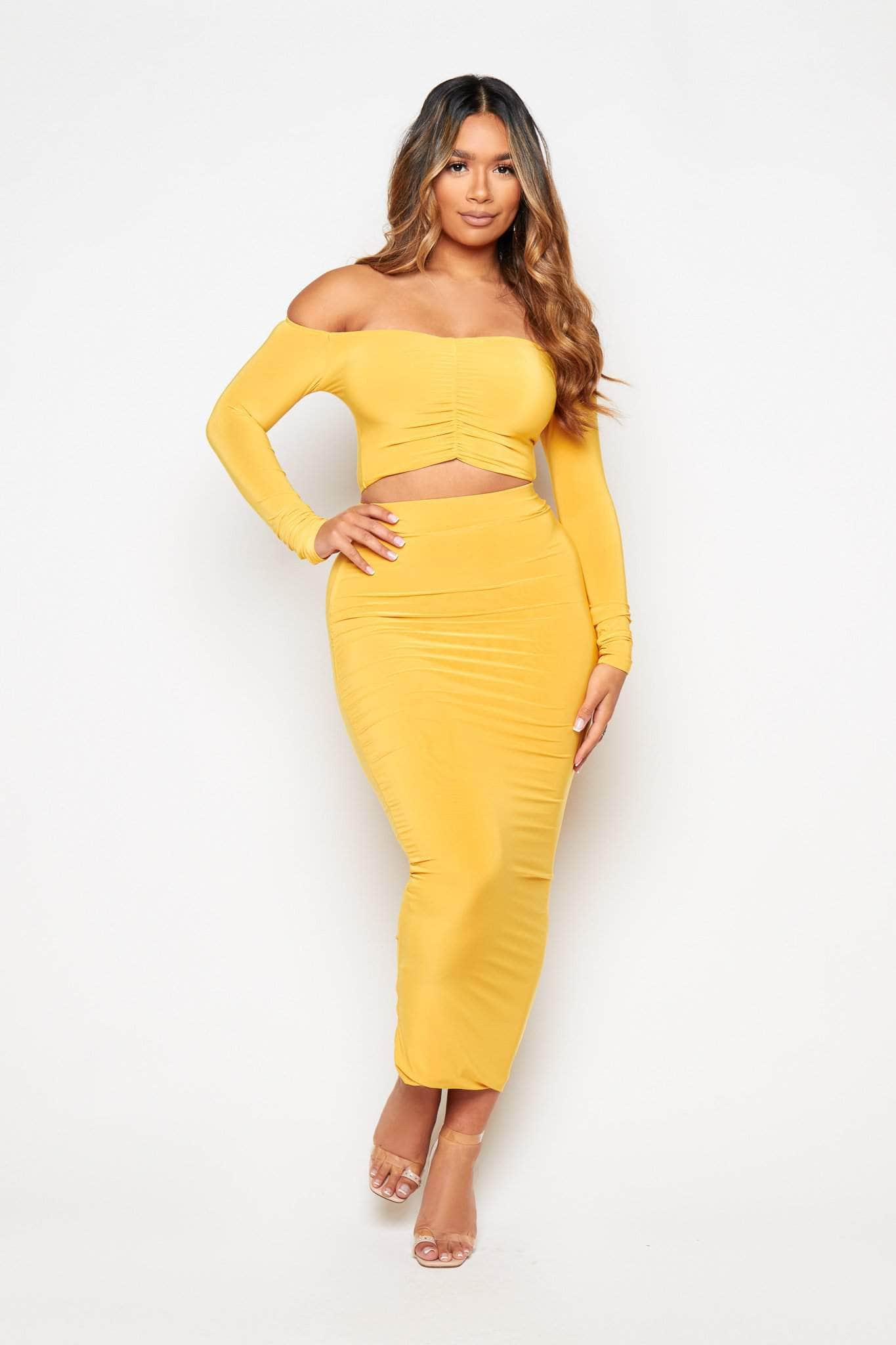 Yellow Slinky Ruched Crop Top & Midi Skirt Co-ord