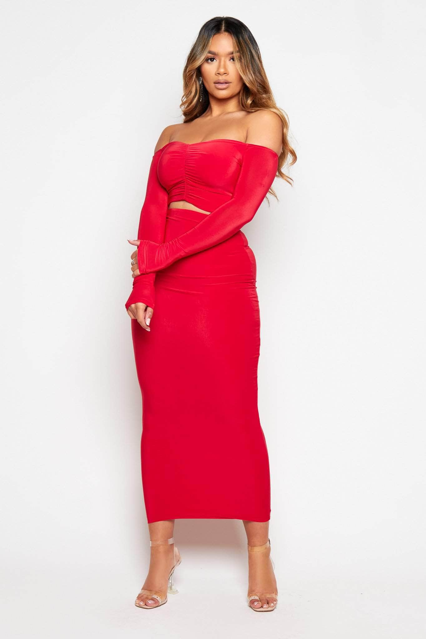 Red Slinky Ruched Crop Top & Midi Skirt Co-ord