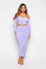 Lilac Slinky Ruched Crop Top & Midi Skirt Co-ord