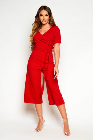 Red Wrap Belted Culotte Jumpsuit