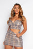 Nude & Yellow Checked Sequin Skirt & Cami Top Co-ord