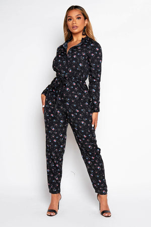 Black Floral Buttoned Shirt Jumpsuit